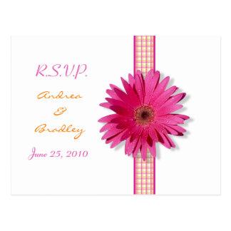 Pink Gerbera Daisy Plaid Ribbon RSVP Postcard