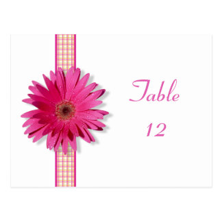 Pink Gerbera Daisy Plaid Table Number Card Postcard