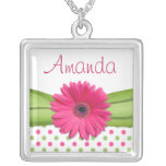 Pink Gerbera Daisy Polka Dot Necklace