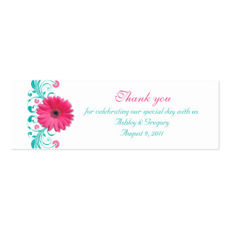 Pink Gerbera Daisy Special Occasion Favor Tags Pack Of Skinny Business Cards