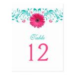 Pink Gerbera Daisy Table Number Card Postcard