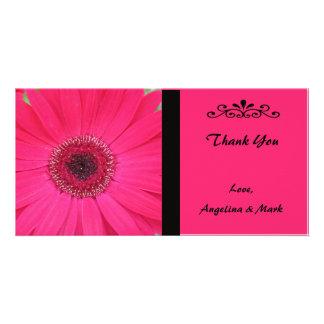 Pink Gerbera Daisy Thank You Photo Card