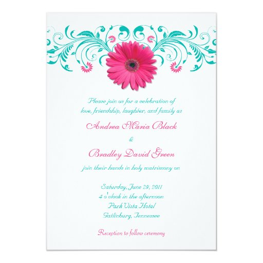 "Pink Gerbera Daisy Turquoise Floral Wedding 5"" X 7"" Invitation Card"