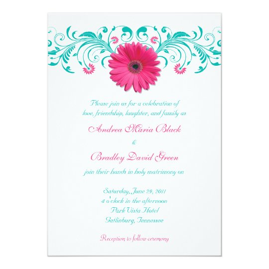 """Pink Gerbera Daisy Turquoise Floral Wedding 5"""" X 7"""" Invitation Card"""