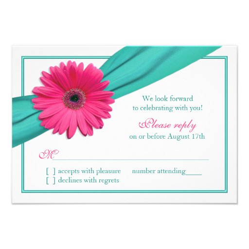 Pink Gerbera Daisy Turquoise Ribbon Wedding RSVP Custom Announcement