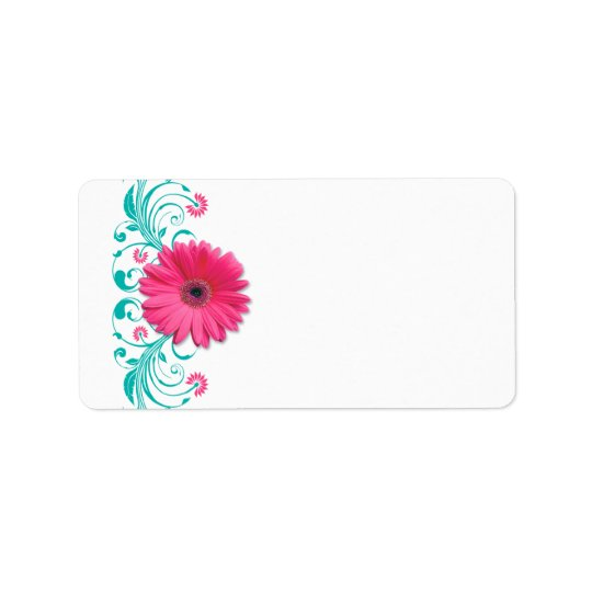 Pink Gerbera Daisy Turquoise Wedding Blank Address