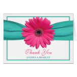 Pink Gerbera Daisy Turquoise Wedding Thank You 3 Note Card