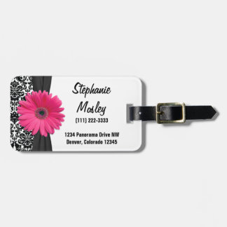 Pink Gerbera Daisy Vintage Damask Floral Luggage Tag