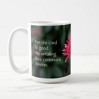 Pink Gerbera Daisy w Scripture Verse Coffee Mug