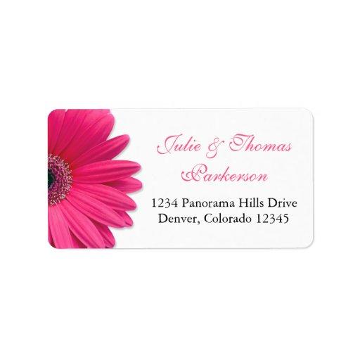 Pink Gerbera Daisy Wedding Address Labels
