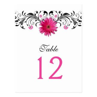 Pink Gerbera Daisy Wedding Table Number Card
