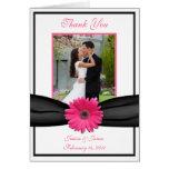 Pink Gerbera Daisy Wedding Thank You Card