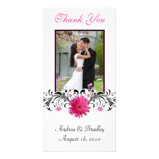 Pink Gerbera Daisy Wedding Thank You Photo Card