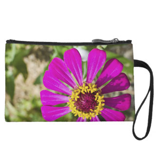 Pink gerbera flower custom purse wristlet