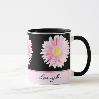 Pink Gerbera on Black Live, Love, Laugh Mug