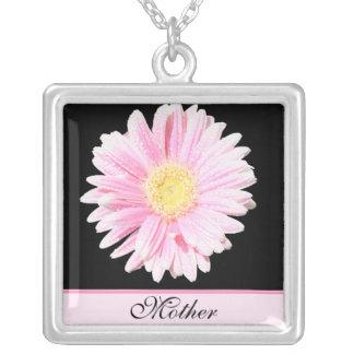 "Pink Gerbera on Black ""Mother"" Necklace"