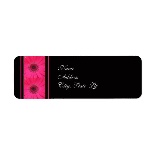 Pink Gerbera on Black Wedding Address Label