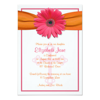 Pink Gerbera Orange Ribbon Confirmation Invitation