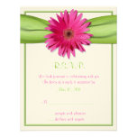 Pink Gerbera with Green Ribbon Response Card Announcement