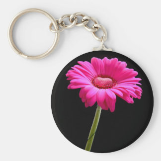 Pink gerbera with heart on black background basic round button keychain