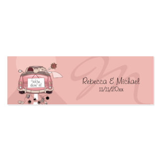 Pink Getaway Car Wedding Favor Tags Mini Business Card