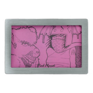 Pink Ghost Girl and Angry Bear Belt Buckles
