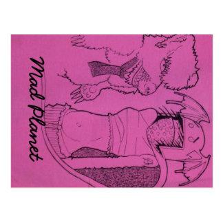 Pink Ghost Girl and Angry Bear Postcard