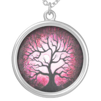 Pink Ghost Tree Moon Fire Necklace
