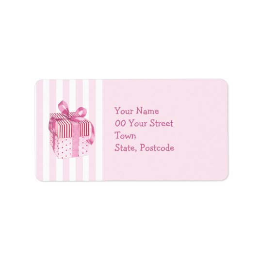 Pink Gift stripes Address Label