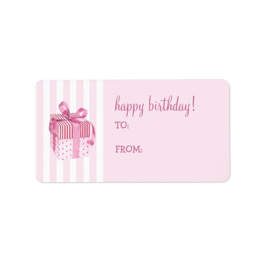 Pink Gift stripes Birthday Gift Tag Label