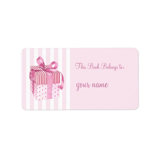Pink Gift stripes Bookplate Label