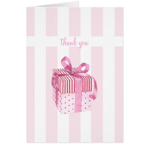 Pink Gift stripes Thank You Note Card