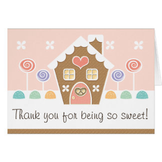 PINK GINGERBREAD HOUSE  BABY SHOWER THANK YOU CARD