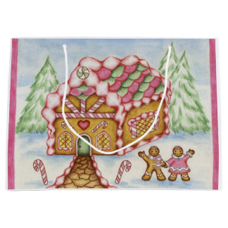 Pink Gingerbread House Gift Bag