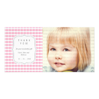 Pink Gingham - Any Occasion Thank you Picture Card