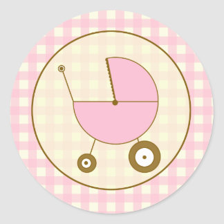 Pink Gingham Baby Carriage Sticker