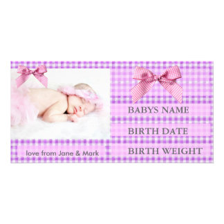 PINK GINGHAM BIRTH ANNOUNCEMENT CUSTOMIZED PHOTO CARD