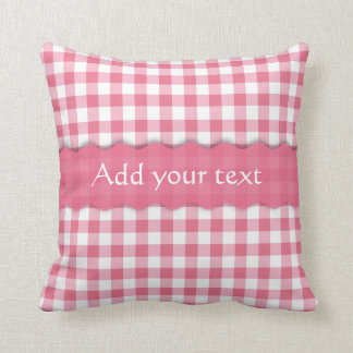 Pink Gingham Checkered  Pattern Personalized Throw Pillow
