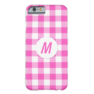 Pink Gingham Checks Monogram Barely There iPhone 6 Case