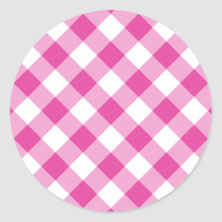 Pink Gingham Classic Round Sticker