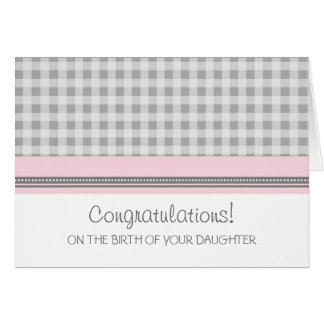 Pink Gingham Congratulations New Baby Girl Card