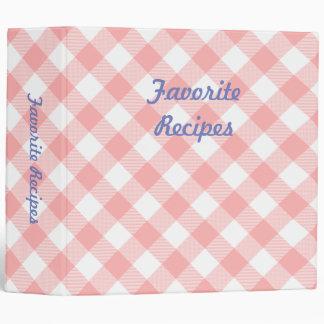 Pink Gingham Cookbook 3 Ring Binder