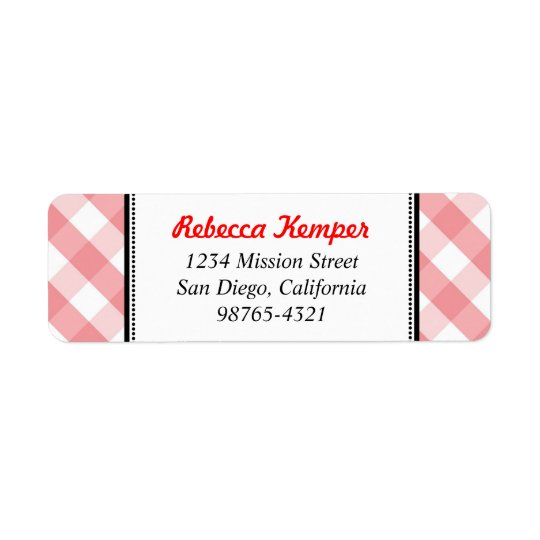Pink gingham country rustic charm return address