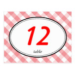 Pink gingham country rustic wedding table number postcards
