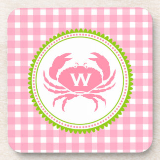 Pink Gingham & Crab Monogram Cork Coasters