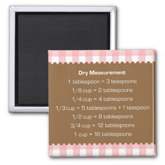 Pink gingham dry measure chart kitchen helper magnet