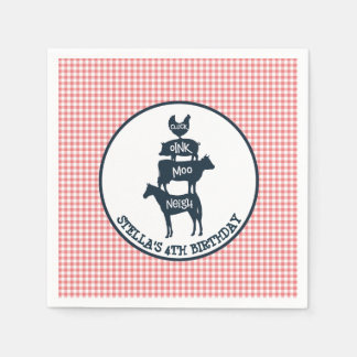 Pink Gingham Farm Theme Animal Girl Birthday Disposable Napkin
