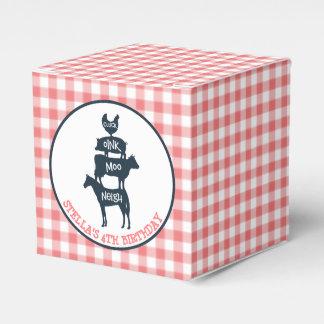 Pink Gingham Farm Theme Animal Girl Birthday Favor Box
