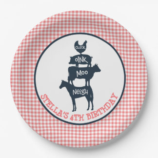 Pink Gingham Farm Theme Animal Girl Birthday Paper Plate