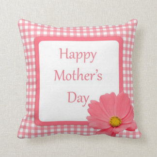 Pink Gingham floral mothers day Cushion Throw Pillow